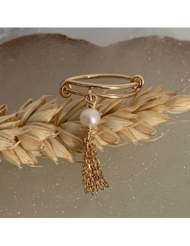 Gold filled thin ring with pearl pompom