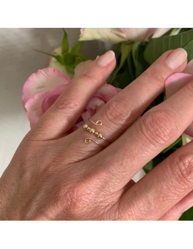 Gold filled thin double ring with beads