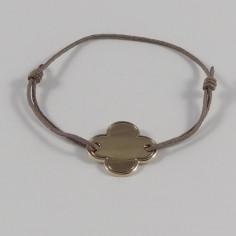 Bracelet cordon Croix moyenne plaqué or