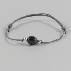 Bracelet cordon Perle d'eau douce noire ovale perles argent