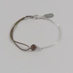 Bracelet chaine et cordon Pierre ronde argent
