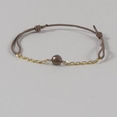 Bracelet chaine et cordon Pierre ronde plaqué or