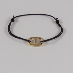 Cord bracelet gold plated small marine link