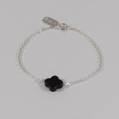 Bracelet chaine argent petite Croix onyx