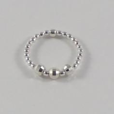 Bague minis perles argent 3 Perles argent facettées  s