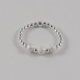Bague minis perles argent 3 Perles argent diamantées