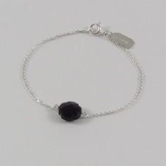 Bracelet chaine argent petite croix onyx facetée
