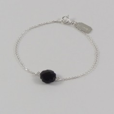 Chain bracelet silver 925 small faceted onyx cross
