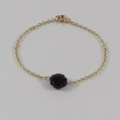 Bracelet chaine plaqué or petite croix onyx facetée