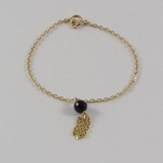 Bracelet chaine pompon pierre semi- précieuse plaqué or
