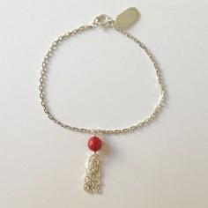 Bracelet chaine argent pompon pierre semi- précieuse