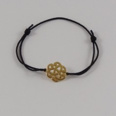 Cord bracelet gold plated small baroque knot