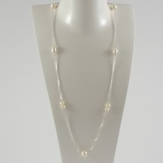 Long chain necklace silver 925 white freshwater pearls