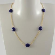 Collier chaine plaqué or 6 Lapis Lazuli ovale facetée