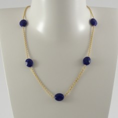 Five oval faceted lapis lazuli stone gold plated chain necklace