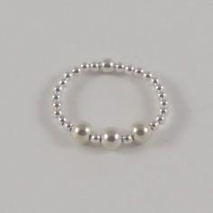 Bague minis perles argent 3 Perles argent lisses