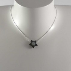 Collier chaine argent moyenne Etoile nacre grise