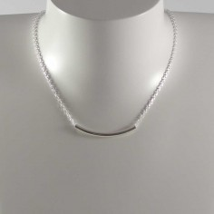 Collier chaine argent tube