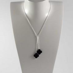 Collier chaine argent Cravate 2 pierres croix onyx