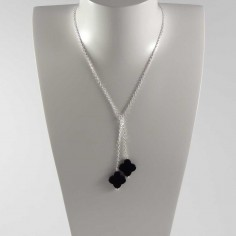 Tie chain necklace silver 925 two onyx crosses