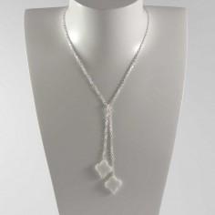 Collier chaine argent Cravate 2 pierres croix agate blanche