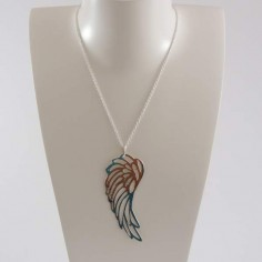 Collier chaine argent grand motif aile ajouré