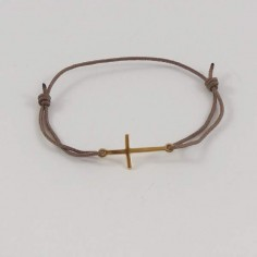 Cord bracelet gold plated small long cross
