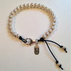 Bracelet Elise grosses perles argent striées fermoir