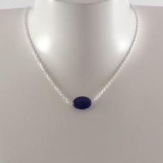 Collier chaine argent Lapis Lazuli ovale facetée