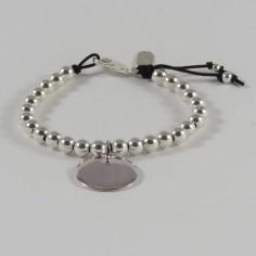 Bracelet Elise grosses perles argent lisses médaille