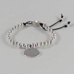 Bracelet Elise grosses perles argent striées médaille ronde