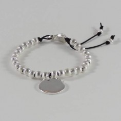 Elise bracelet silver 925 big ridge beads medal