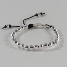 Bracelet Elise grosses perles argent facetées fermoir
