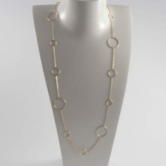 Long chain necklace gold plated fifteen rings