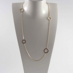 Long chain necklace gold plated four large rings