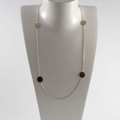Long chain necklace gold plated four small pastilles