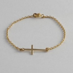 Chain bracelet gold plated small long cross