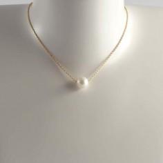 Collier chaine plaqué or perle d'eau douce blanche ronde baroque
