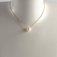 White baroque freshwater pearl chain necklace gold plated