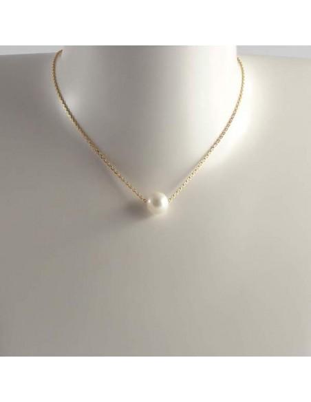 Collier chaine argent Elise nacre coeur blanc