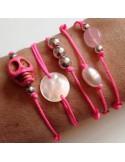 Bracelet cordon Perle d'eau douce blanche ovale