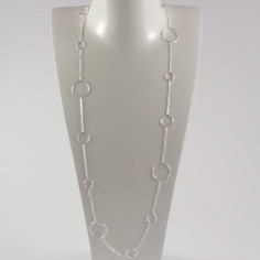 Long chain necklace silver 925 fifteen rings