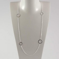 Long chain necklace silver 925 four large rings