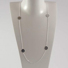 Long chain necklace silver 925 four small pastilles