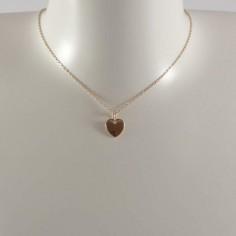 Collier chaine plaqué or mini médaille coeur