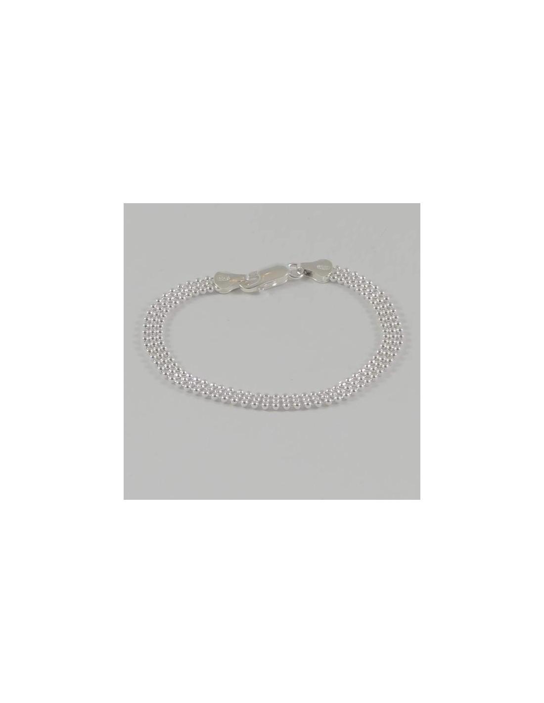 bracelet chaine argent 3 rangs boules. Black Bedroom Furniture Sets. Home Design Ideas