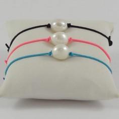 Bracelet cordon Perle d'eau douce blanche baroque