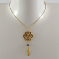 Baroque knot chain necklace gold plated small pompom stone