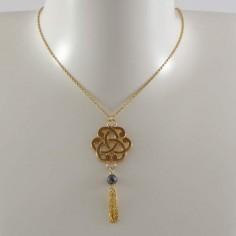Collier chaine plaqué or noeud baroque petit pompon pierre semi- précieuse