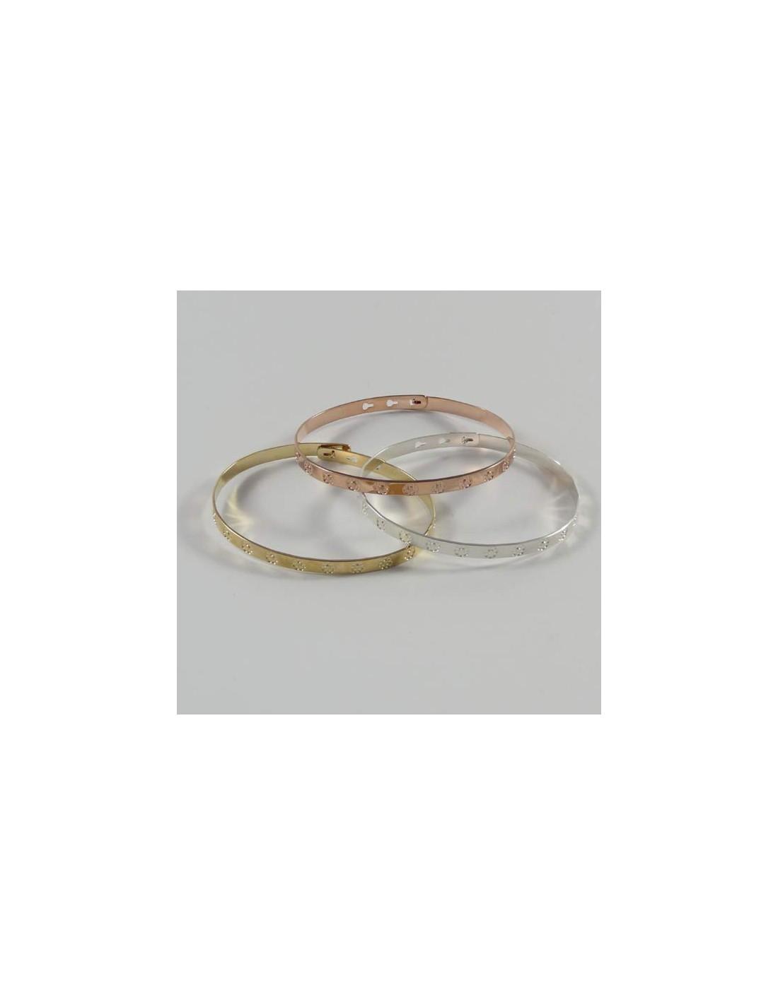 bracelet jonc plat argent fleurs. Black Bedroom Furniture Sets. Home Design Ideas
